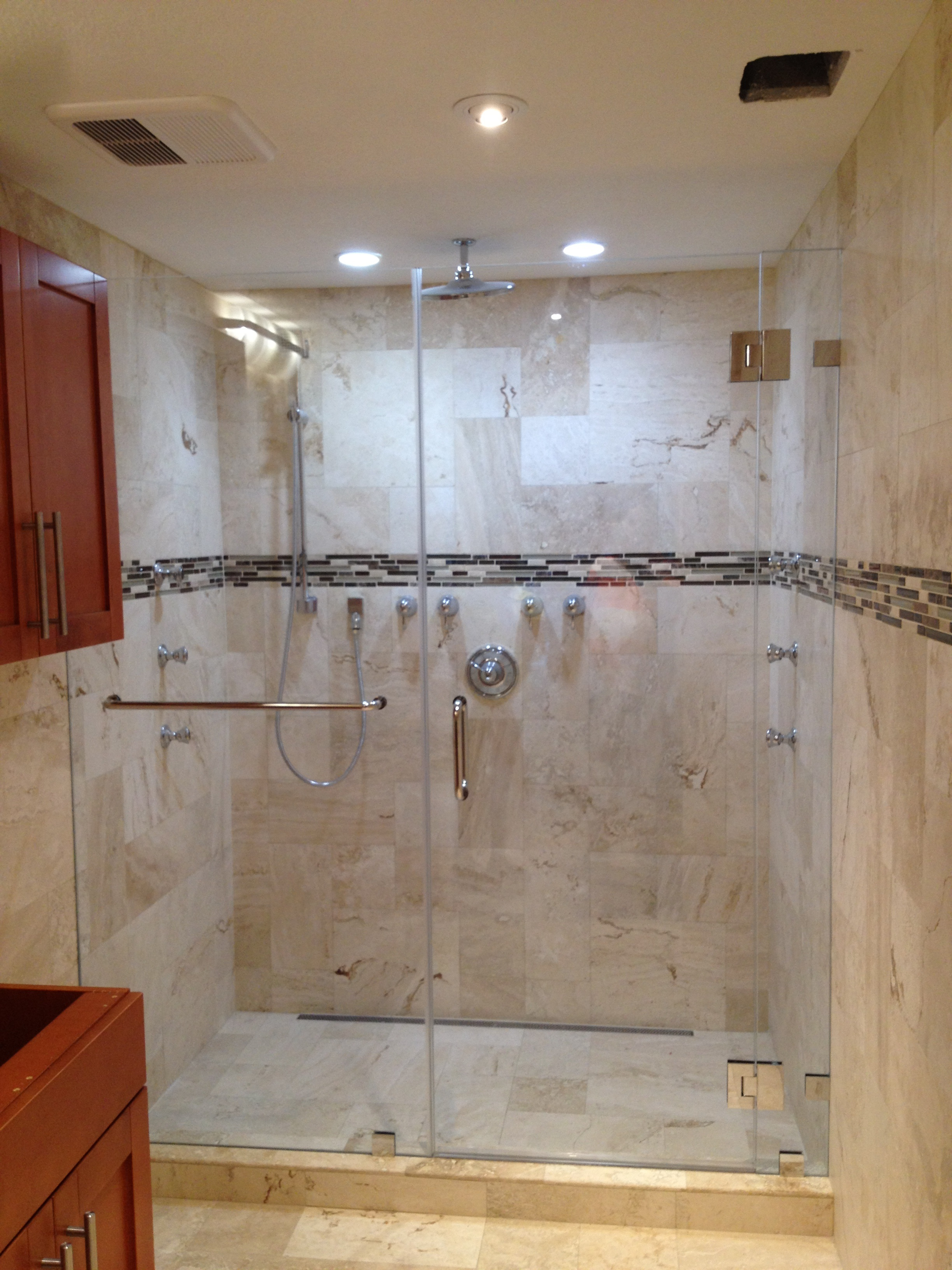 Frameless in Line Shower Doors ... & Frameless shower glass doors